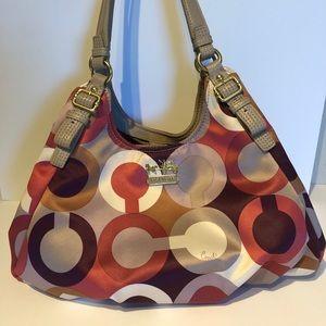 Coach Madison Maggie OpArt Shoulder Hobo Handbag
